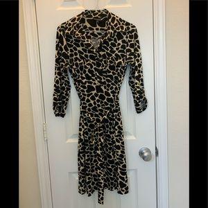Animal Print Giraffe size8 Career Dress Knee belt